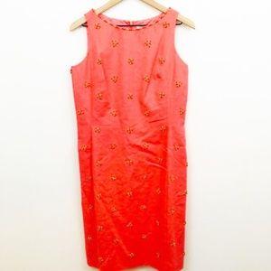 NWT! Chetta B Beaded Linen Shift Dress 10